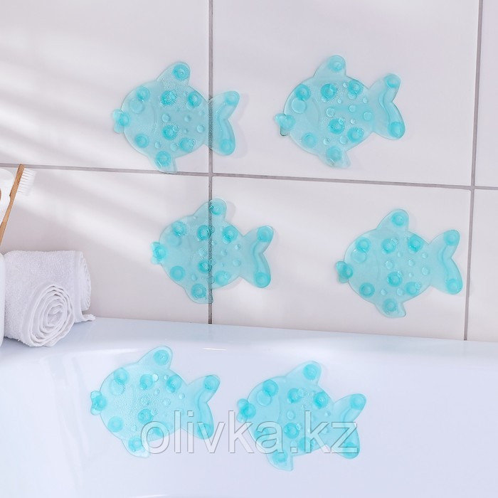 Набор мини-ковриков для ванны Доляна «Рыбка», 11×12 см, 6 шт, цвет МИКС