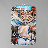 Набор ковриков для ванны и туалета «Ракушки» 2 шт, 79×49, 49×40 см, фото 5