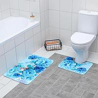 Набор ковриков для ванны и туалета «Флори» 2 шт, 79×49, 49×40 см, цвет голубой