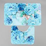 Набор ковриков для ванны и туалета «Флори» 2 шт, 79×49, 49×40 см, цвет голубой, фото 2