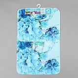 Набор ковриков для ванны и туалета «Флори» 2 шт, 79×49, 49×40 см, цвет голубой, фото 5