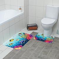 Набор ковриков для ванны и туалета «Аквариум», 2 шт: 79×50, 50×39 см