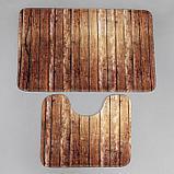 Набор ковриков для ванны и туалета Доляна «Досочки», 2 шт: 79×50, 50×39 см, цвет коричневый, фото 2