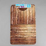 Набор ковриков для ванны и туалета Доляна «Досочки», 2 шт: 79×50, 50×39 см, цвет коричневый, фото 5