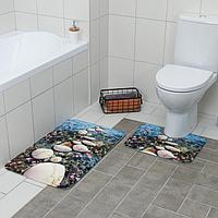Набор ковриков для ванны и туалета Доляна «Галька», 2 шт 79×50, 50×39 см