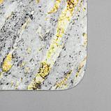 Набор ковриков для ванны и туалета Доляна «Мрамор», 2 шт: 79×50, 50×39 см, цвет серый, фото 2