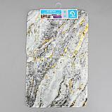 Набор ковриков для ванны и туалета Доляна «Мрамор», 2 шт: 79×50, 50×39 см, цвет серый, фото 4