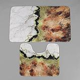 Набор ковриков для ванны и туалета «Мрамор», 2 шт: 79×50, 50×39 см, цвет коричнево-белый, фото 2