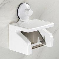 Держатель для туалетной бумаги с полкой, 18×11,5×20,3 см, цвет белый