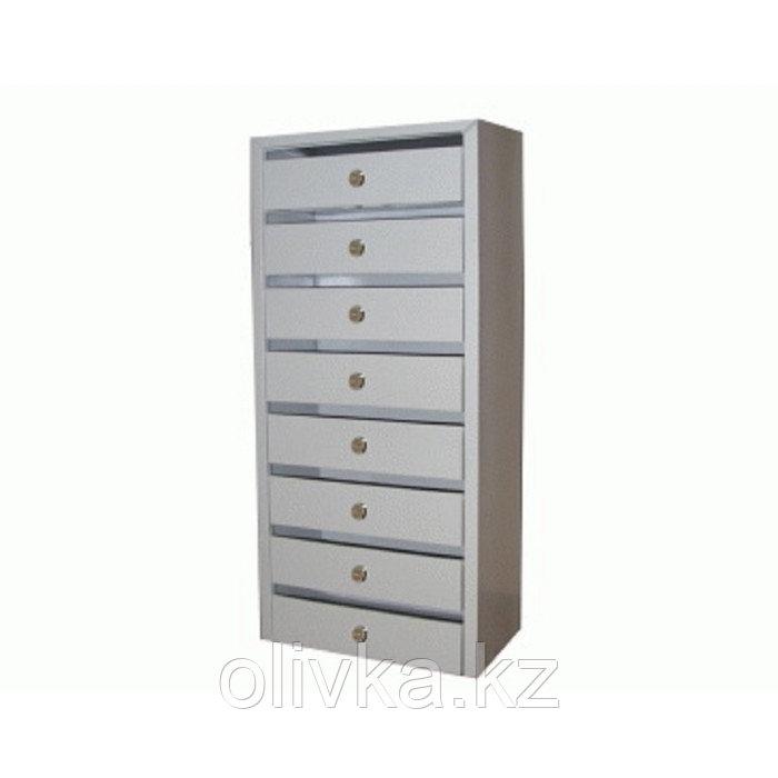 Ящик почтовый, многосекционный, 8 секций, с задней стенкой, серый