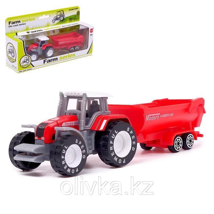 Трактор «Фермер» с прицепом, цвет красный