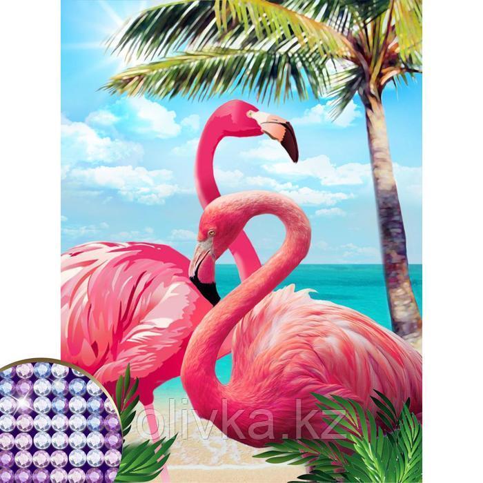 """Алмазная вышивка с частичным заполнением """"Фламинго"""" 30*40 см, холст"""