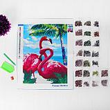 """Алмазная вышивка с частичным заполнением """"Фламинго"""" 30*40 см, холст, фото 3"""