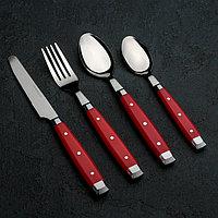 Набор столовых приборов «Аппетит», 24 предмета, на пластиковой подставке, цвет красный