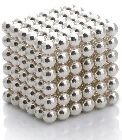 Антистресс магнитный Неокуб, 216 шариков d=0.5 см. (серебро)