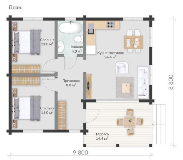 план одноэтажного деревянного дома из бруса , Проект одноэтажного дома из бруса