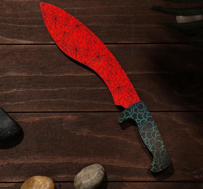 Деревянный Нож Мачете-кукри - красный мрамор (31 см.)