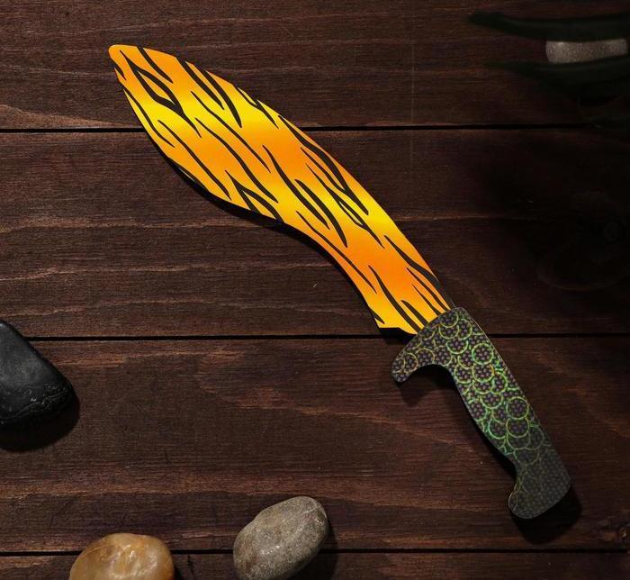 Деревянный Нож Мачете-кукри - желтый леопард (31 см.)