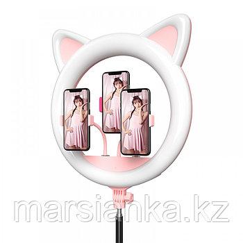 Лампа кольцевая, розовая с ушками