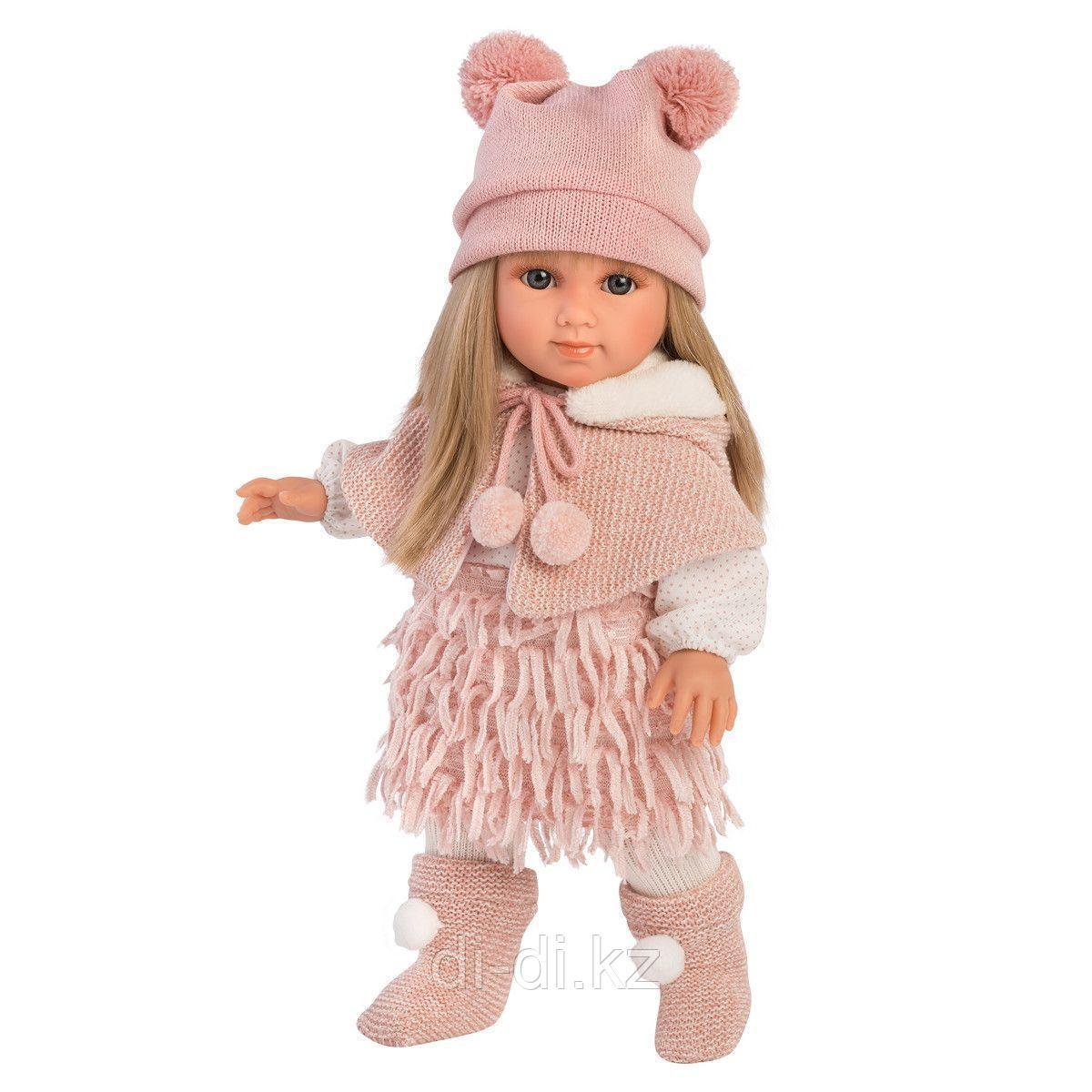 LLORENS Кукла Елена 35 см, блондинка в розовом костюме и шапке с двумя помпонами