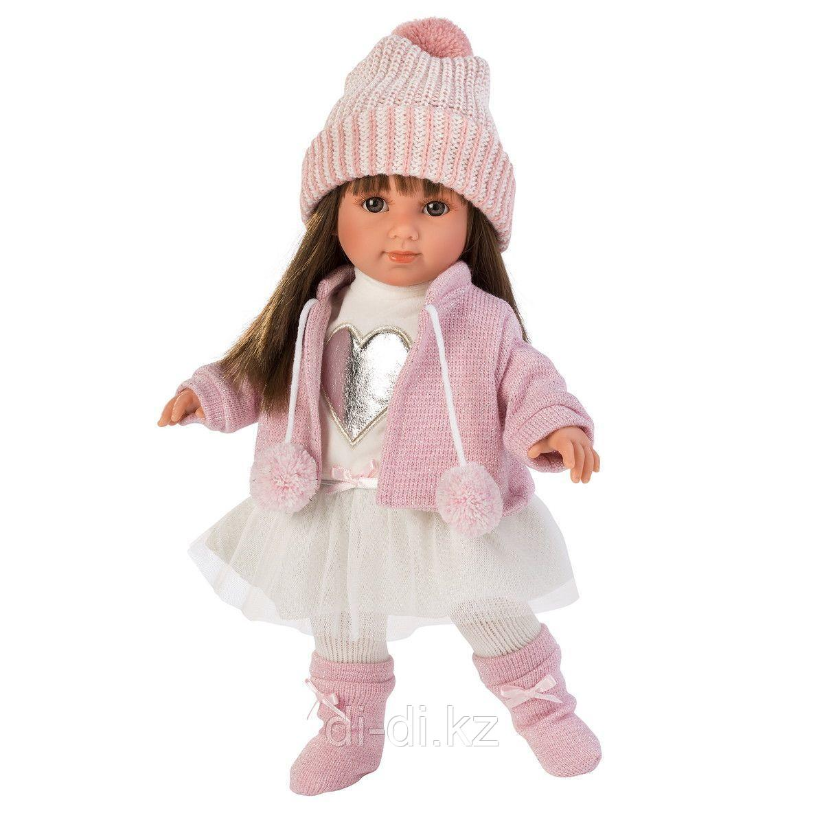 LLORENS Кукла Сара, 35 см, шатенка в розовом жакете и белой кружевной юбке