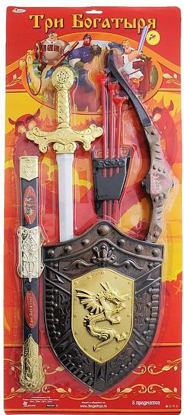 """IV. Набор игрового оружия """"Три Богатыря"""", меч, щит и лук"""