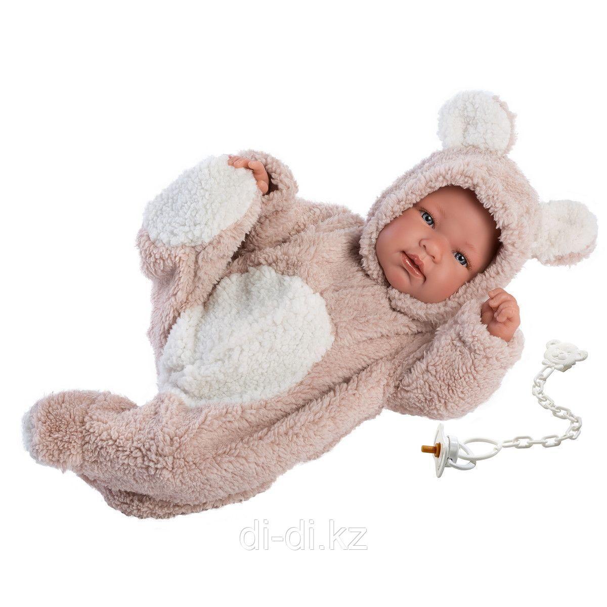 LLORENS Пупс Малыш 44 см в костюме медвежонка