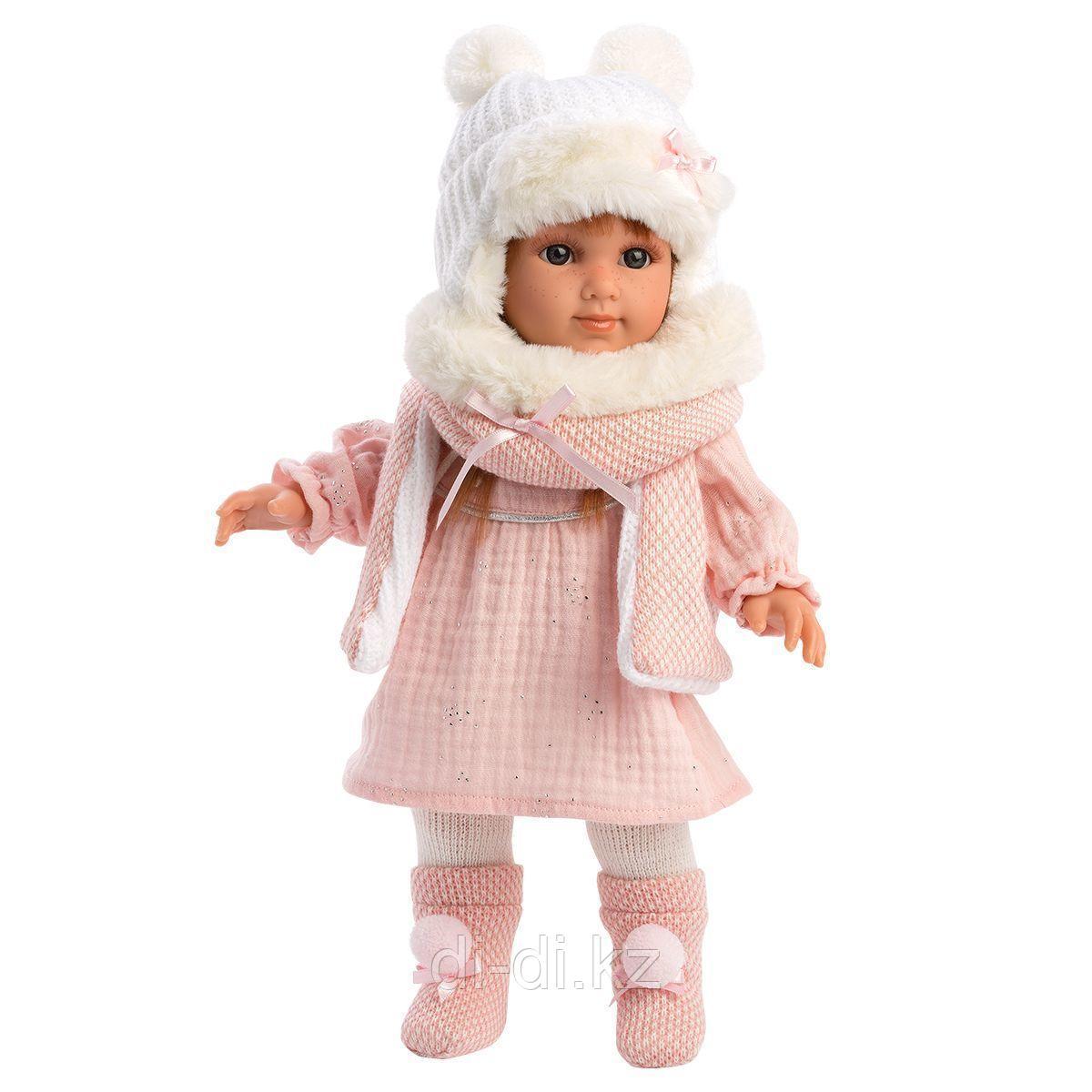 LLORENS Кукла Николь 35 см, шатенка в розовом костюме