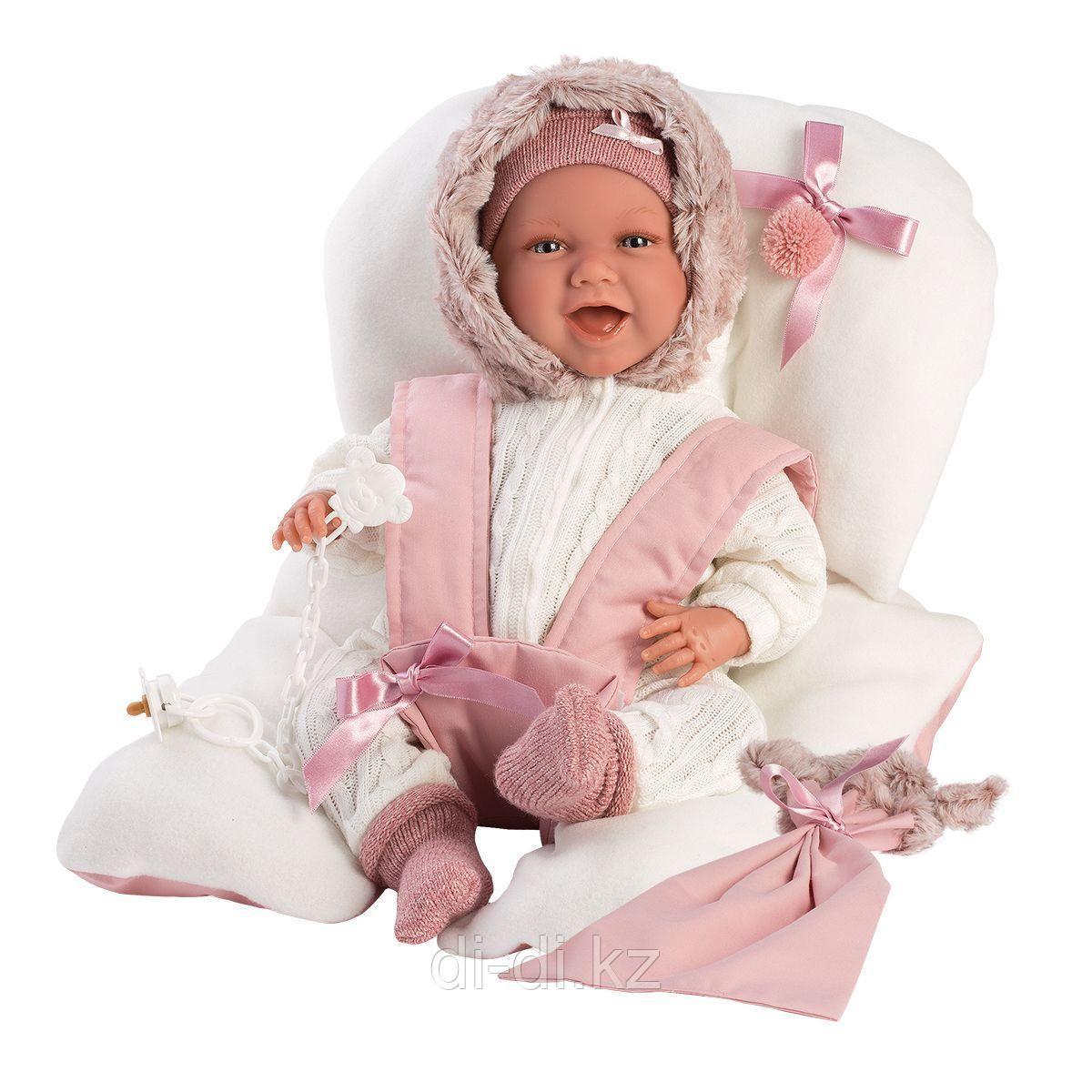 LLORENS Пупс Малышка 42 см, улыбающаяся с матрасиком в розовом
