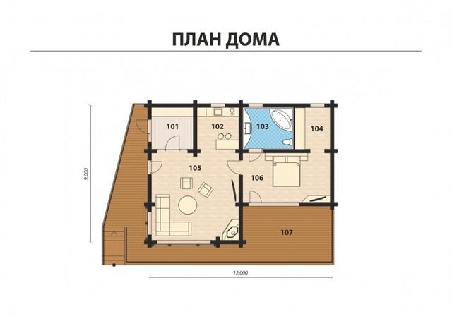 план одноэтажного деревянного дома из бруса, строительство деревянных домов под ключ казахстан