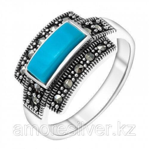 Серебряное кольцо с бирюзой синт. и марказитом    Teosa HR-344-TQ размеры - 19