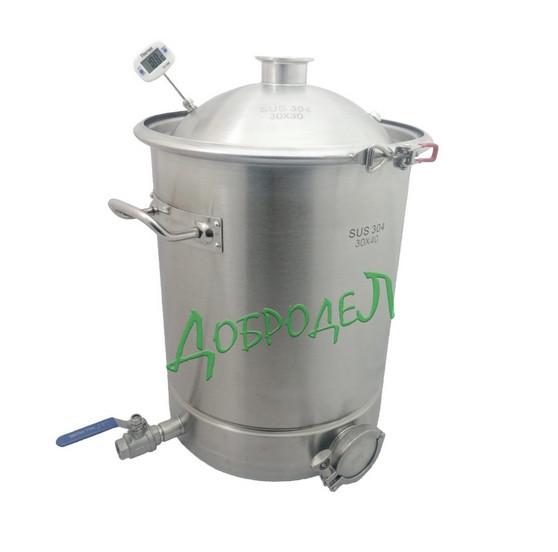 Куб люкссталь 25л  с купольной крышкой (хомут, прокладка, клапан сброса, гильза под термометр,термометр)