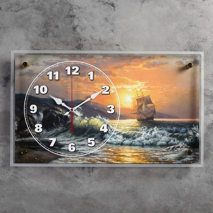 """Часы настенные, серия: Море, """"Корабль у берега на закате"""", 36х60 см"""