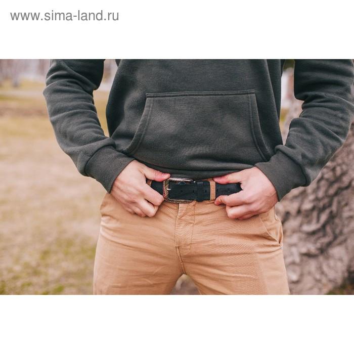 Ремень мужской, винт, пряжка под тёмный металл, ширина - 3,5 см, цвет чёрный - фото 4