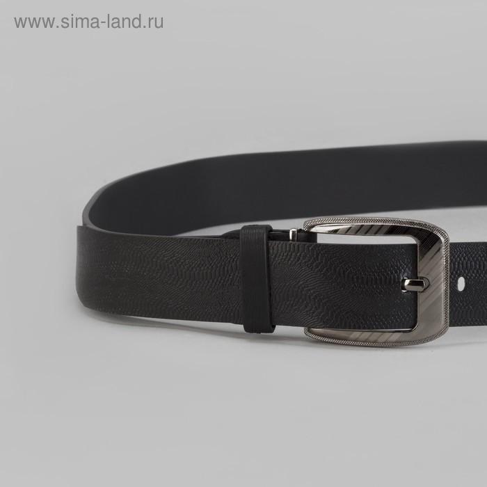 Ремень мужской, винт, пряжка под тёмный металл, ширина - 3,5 см, цвет чёрный - фото 2