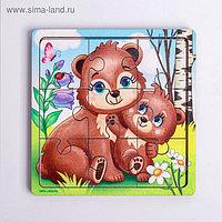 Пазл «Медведица и медвежонок», 9 деталей