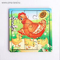 Пазл «Курица с цыплятами», 9 деталей