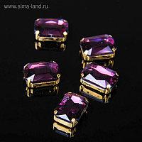 Стразы в цапах (набор 5 шт), 10*14мм, цвет фиолетовый в золоте