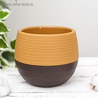 Горшок для цветов «Япония» 1,2 л, цвет оранжевый-тёмно-коричневый