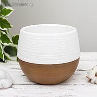 Горшок для цветов «Япония» 1,2 л, цвет бело-коричневый