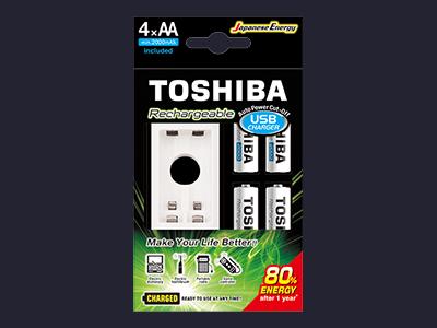Устройство зарядное аккумуляторов Toshiba Ni-MN USB Charger и аккумуляторы АА 2000mAhx4pcs TNH - 6GME / 1,2V