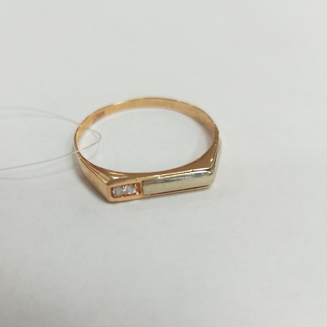 Кольцо с фианитом мужское / красное золото - фото 1