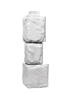 Угол наружный Белый 459х140х140 мм Камень крупный  Дачные FINEBER