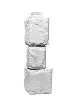Угол наружный Белый 459х140х140 мм Дачные Крупный камень FINEBER