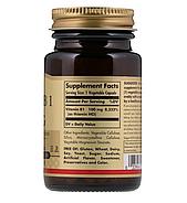 Solgar, витамин В1, 100 мг, 100 растительных капсул, фото 2