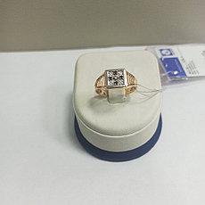Кольцо с фианитом мужское / красное золото - 19 размер
