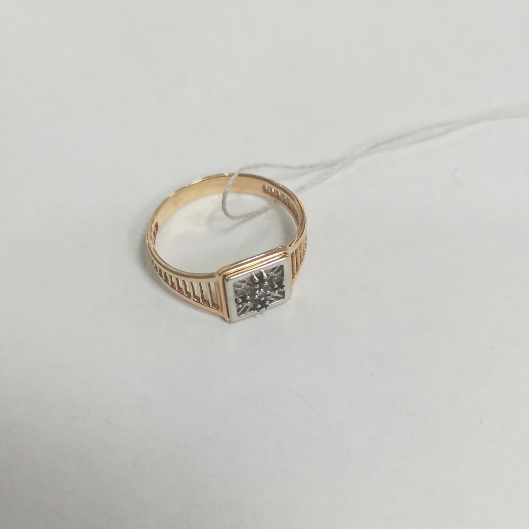 Кольцо с фианитом мужское / красное золото - фото 2