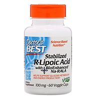 Doctor's Best, Стабилизированная R-липоевая кислота Best, 100 мг, 60 растительных капсул