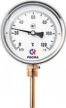 Термометр биметаллический тип R 5242, номинальный размер 100, G 1/2 B, d погр.ч.-8 мм, L погр-100 мм (0...120*С)