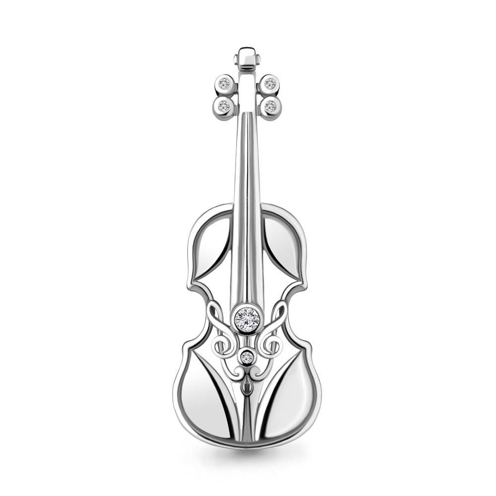 Брошь из серебра с фианитом